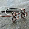 Handmade antique copper trefoil ear wires, findings, earwires, make your own
