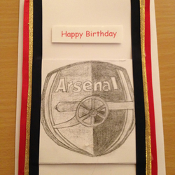 Arsenal F.C. Handmade & Handsketched birthday Greetings card