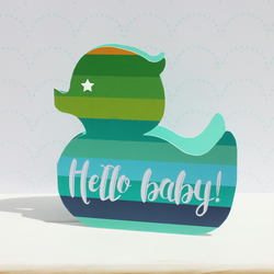 New baby card for a boy - rubber duck, Newborn card blue, cute baby card