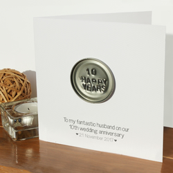 10th wedding anniversary card, personalised anniversary card, tin anniversary