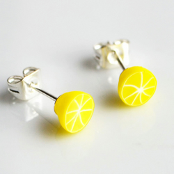 Lemon Stud Earrings, Fimo, Polymer Clay, Fruit, Food, Miniature, Jewellery