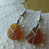 Amber brown star sea glass beach earrings