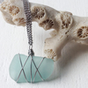 Bright aquamarine star wire wrapped sea glass boho necklace