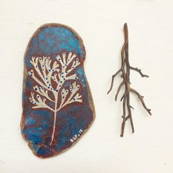 Little Seaweed No:2 painting on driftwood