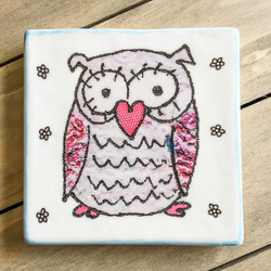 Pink Owl Ceramic Coaster