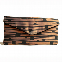 Envelope clutch, hand printed copper brown silk