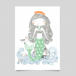 Mermaid archival print.  Children's home interiors, wall art
