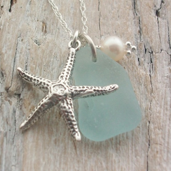 Scottish Sea Glass and Sterling Silver Starfish Necklace