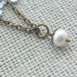 Fresh Water Pearl and Brass Necklace - SOLO PEARL