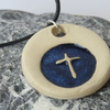 Blue Cross Ceramic Necklace Cord and Clasp
