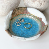 9cm AQUA BLUE GLASS POOL - Ceramic pottery Ring dish. UK Wedding Jewellery