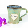 Peace and Love -  Green Mug,  Ceramic Pottery Stoneware UK Wheelthrown