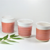 Elegant Coral Pink and White Mini Tumbler Espresso cup Ceramics Stoneware UK