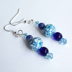 Earrings - Blue & White - Liz