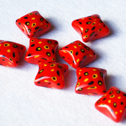 handcrafted Red Speckled Polymer Clay Pillow Beads - Penny