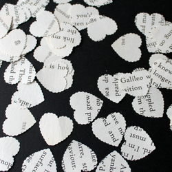 Scalloped Heart Shapes from Book Pages