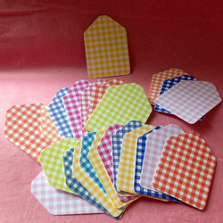 Gingham Print Card, Mini Gift, Message Tags, 100 pack - Various Colours