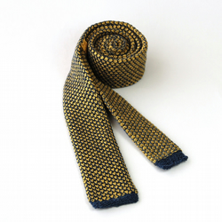 Skinny Knitted Tie, Yellow Silk and Blue Cashmere Wool