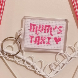 Mum's taxi, cross stitched key-ring, great mum gift