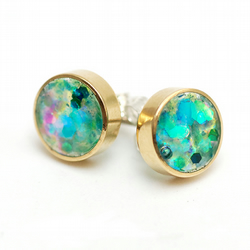 Brass and Resin Glitter Stud Earrings - Mermaid