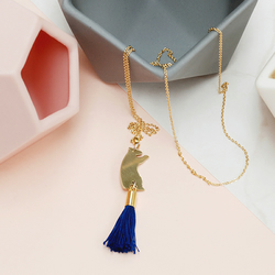 Brass Bear Necklace with Blue Tassel