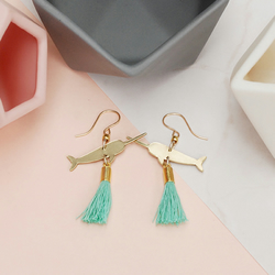 Narwhal Dangle Earrings with Turquoise Tassels