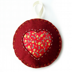 Felt Heart Floral Hanging Decoration - Red - Mothers Day