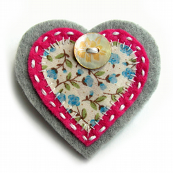Heart Brooch or Bag Charm - Felt - Pink and Grey Floral