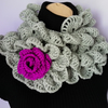 CROCHET SCARF, NECKWARMER with Crochet Flower Brooch , Ruffle Scarf