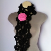 CROCHET SCARF, NECKWARMER with Crochet Flower Brooch