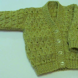 "Pistachio Cardigan for Newborn Baby (0-2 months) 16"" chest"