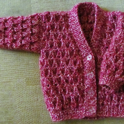 "Pink Mix Cardigan for Newborn Baby (0-2 months) 16"" chest"