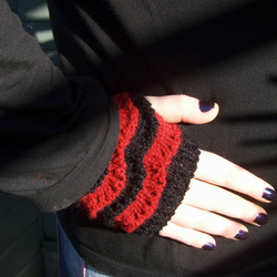 Blood and Black Lacy Fingerless Goth Gloves