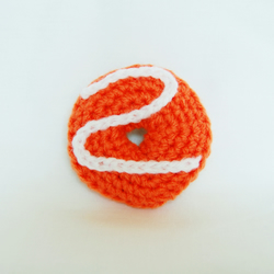 Orange and White Party Ring Iced Biscuit Crochet Brooch Badge