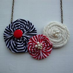 Red and Navy Stripes- Fabric Flower Bib Necklace