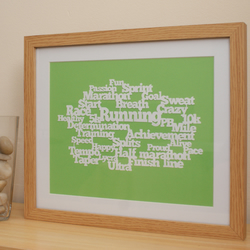 Running words handmade papercut picture framed