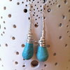 Long Wire Wrapped Gem Turquoise Peardrop