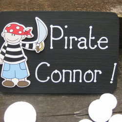 Boy's pirate bedroom door plaque