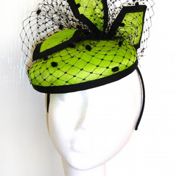 Lime Green & Black Pillbox Hat