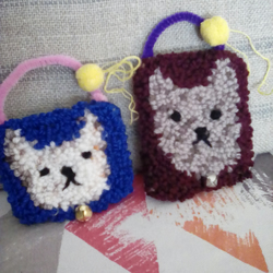 Set of Two Needle Punch Kitty Hangings