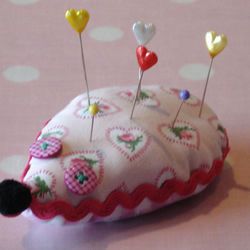 Vintage Fabric Hedgehog Pin Cushion or Brooch Cushion - Pink Floral
