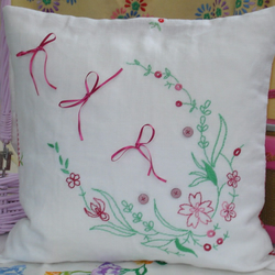 Vintage Embroidered Hand Made Cushion in Pinks, Reds and Green