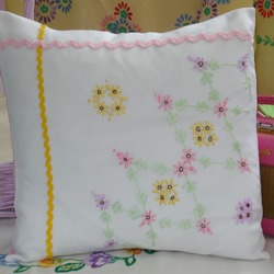 Vintage Embroidered Hand Made Cushion in Pinks and Lemon