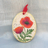 Wall hanging oval Poppy painting