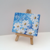 Mini easel canvas blue Daisies - acrylic original