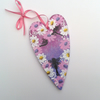 Pink and purple daisy and fairy hanging heart