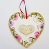 Hand painted heart shape Mum plaque - sweetpea