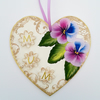 Mum - hand painted heart  plaque with pansies