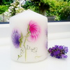 Sweet pea candle hand painted