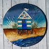 Mixed Media Art Coaster - Beach Hut